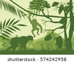 Monkey\'s Vector Silhouettes ...