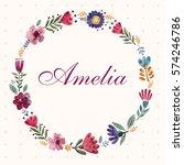 vector illustration with wreath ... | Shutterstock .eps vector #574246786