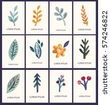 vector set of hand drawn cards... | Shutterstock .eps vector #574246822