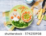 funny toast in a shape of chick ...   Shutterstock . vector #574250938