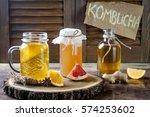 homemade fermented raw kombucha ... | Shutterstock . vector #574253602