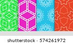 set of seamless lace floral... | Shutterstock .eps vector #574261972
