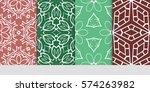 set of flower  geometric... | Shutterstock .eps vector #574263982