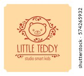 kids club logo with teddy bear. ... | Shutterstock .eps vector #574265932