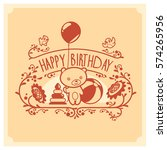 vector happy birthday card with ... | Shutterstock .eps vector #574265956