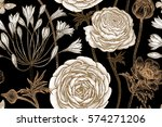 spring flowers seamless floral... | Shutterstock .eps vector #574271206