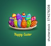 card with easter eggs on plate | Shutterstock .eps vector #574278208