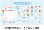 cute food icons set for
