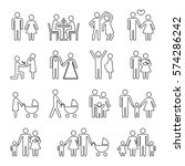 family vector thin line icons... | Shutterstock .eps vector #574286242