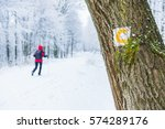 winter hike on a marked trail. | Shutterstock . vector #574289176