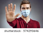 stop the infection  healthy man ... | Shutterstock . vector #574293646