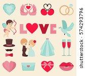 vector set of happy wedding and ... | Shutterstock .eps vector #574293796