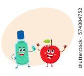 funny dental mouthwash  mouth... | Shutterstock .eps vector #574304752