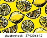 hand drawn pattern with lemon... | Shutterstock .eps vector #574306642