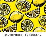 hand drawn pattern with lemon... | Shutterstock .eps vector #574306642