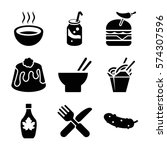 set of 9 fastfood filled icons... | Shutterstock .eps vector #574307596