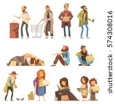 set of homeless people... | Shutterstock .eps vector #574308016