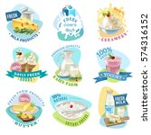 milk products emblems set with... | Shutterstock .eps vector #574316152