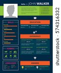 resume page design with skills ...   Shutterstock .eps vector #574316332