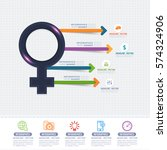 female symbol and colorful... | Shutterstock .eps vector #574324906