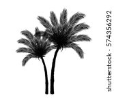 black palm tree silhouette on... | Shutterstock .eps vector #574356292