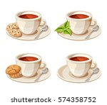 vector set of four porcelain... | Shutterstock .eps vector #574358752
