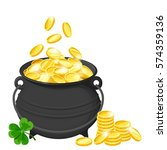vector black pot of gold coins... | Shutterstock .eps vector #574359136
