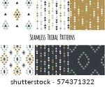 set of modern seamless hand... | Shutterstock .eps vector #574371322