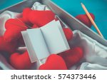 set of red heart made from... | Shutterstock . vector #574373446