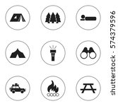 set of 9 editable camping icons.... | Shutterstock . vector #574379596
