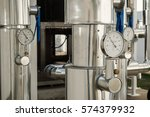 chiller and piping system in... | Shutterstock . vector #574379932