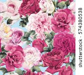 seamless floral pattern with... | Shutterstock . vector #574380538