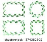 set of wreaths. watercolor... | Shutterstock . vector #574382902