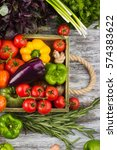 set of different fresh raw... | Shutterstock . vector #574383622