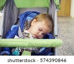 little baby sleeping in a... | Shutterstock . vector #574390846