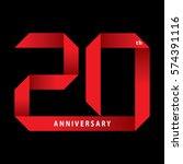 20 years anniversary ribbon ... | Shutterstock .eps vector #574391116