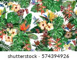 watercolor floral painting... | Shutterstock . vector #574394926