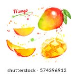 watercolor set of illustrations ... | Shutterstock . vector #574396912