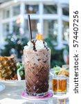 closeup glass of chocolate...   Shutterstock . vector #574407256