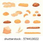 set of cartoon food  bread  ... | Shutterstock .eps vector #574413022