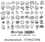 weather doodles sketch vector... | Shutterstock .eps vector #574417396