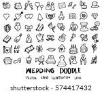 wedding doodles sketch vector... | Shutterstock .eps vector #574417432