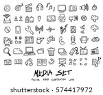 doodle vector media icons set... | Shutterstock .eps vector #574417972