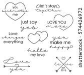 set of love quotes for... | Shutterstock .eps vector #574426972