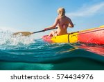 young woman on kayak  in sea... | Shutterstock . vector #574434976