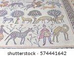 ancient mosaic  mount nebo ... | Shutterstock . vector #574441642