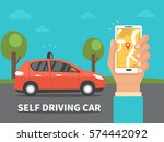 self driving car concept.  | Shutterstock . vector #574442092