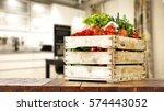 vegetables on table in kitchen  | Shutterstock . vector #574443052
