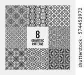 set of 8 complex monochrome... | Shutterstock .eps vector #574453972