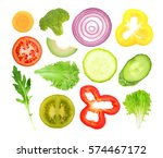 vegetables slices on white... | Shutterstock . vector #574467172